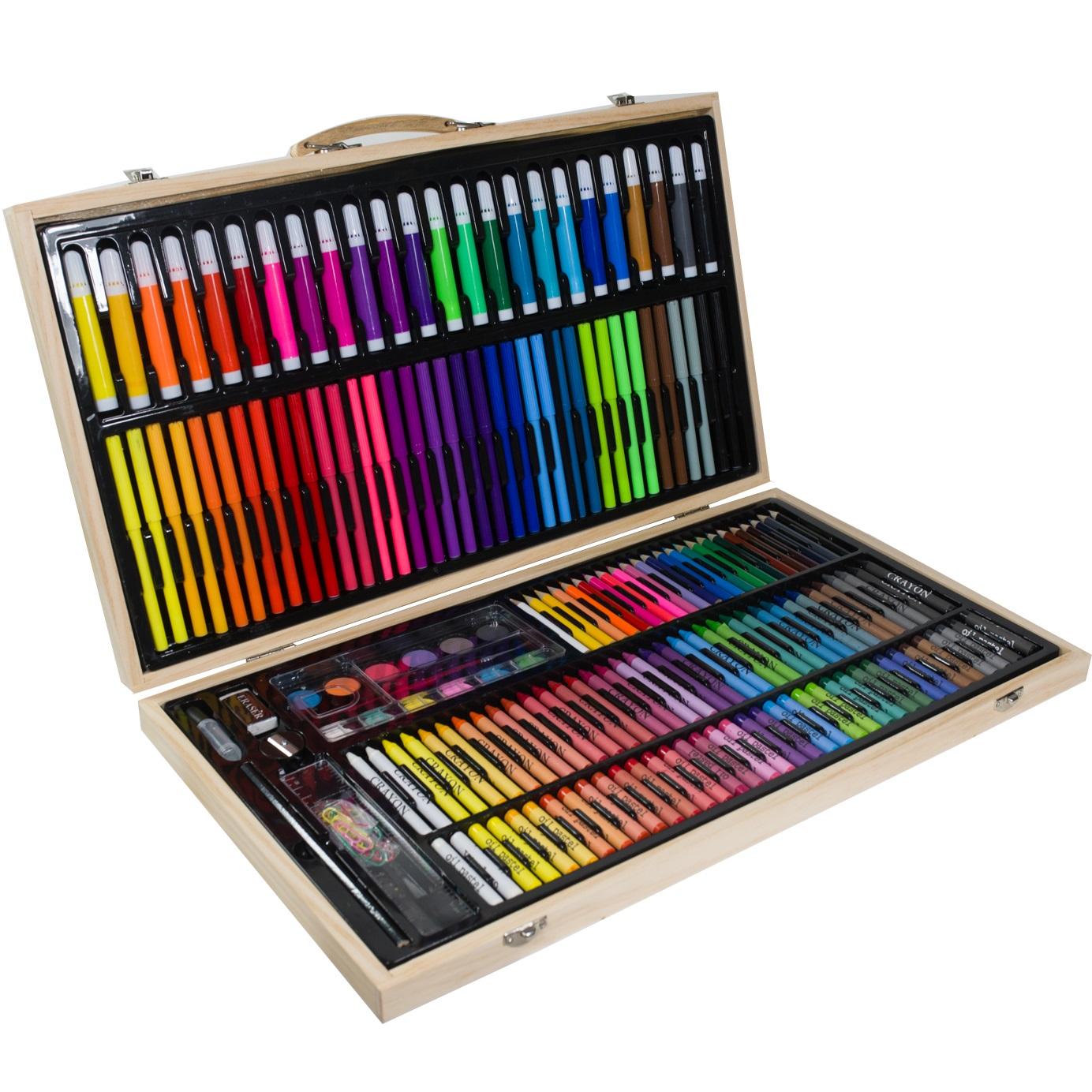 Wspaniały Zestaw artystyczny 199el w drewnianej walizce - sklep online NU13